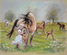 """girl and horse art,""""Dreams of Horses"""" Flat archival canvas or paper print, child wall art, horse painting, Laurie Shanholtzer"""