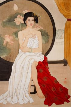 Repose by Huixuan Zhao, Chinese Picture, Geisha Art, Art Asiatique, China Art, Korean Art, Japan Art, Chinese Painting, Beauty Art, Portrait Art