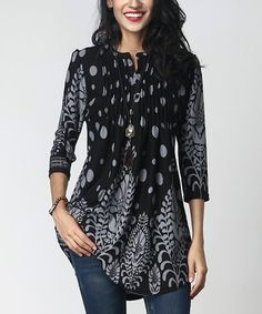 Look at this #zulilyfind! Black & Gray Vine Dot Notch Neck Pin-Tuck Tunic #zulilyfinds