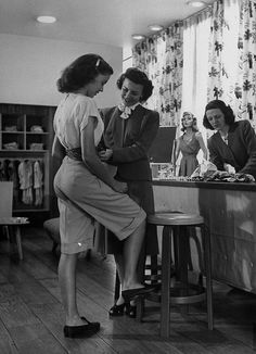 """""""Modeling teenage clothing at s Nieman Marcus department store. Photographed for LIFE Magazine, June 1945."""""""