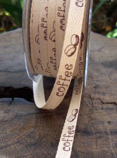 """Natural Cotton Ribbon  with Printed Coffee Beans 3/8"""" width  27 yards    $13. so i really want this"""