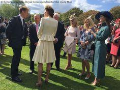Will & Kate, Duke & Duchess of Cambridge, attend Buckingham Palace garden party. Kate is wearing her Alexander McQueen coat-dress and Jane Taylor's bespoke hat (both from Prince George's christening), her LK Bennett 'Nina' clutch & LK Bennett 'Fern' heels. - 5/24/2016