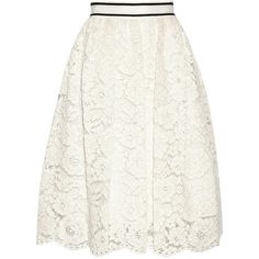 Alice + Olivia Kizzy guipure lace skirt (44,835 PHP) ❤ liked on Polyvore featuring skirts, bottoms, saias, white, alice olivia skirt, lacy skirt, white midi skirt, alice + olivia and white skirt