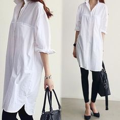 6e0a87cc12f Women Classic Button Down Lapel Loose Cotton Top Blouses Casual Extra Long  Shirt