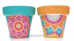 Macetas Pintadas A Mano - $ 180,00 Decorated Flower Pots, Painted Flower Pots, Painted Pots, Ceramic Pots, Ceramic Flowers, Terracotta Pots, Pots D'argile, Clay Pots, Creative Crafts