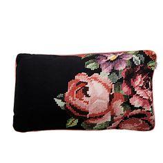 Cross stitch flower pillow