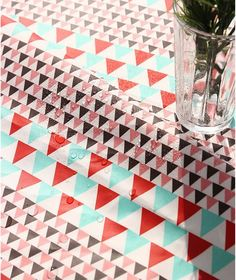 Laminated Vivid Triangle Pattern Cotton Fabric by by luckyshop0228