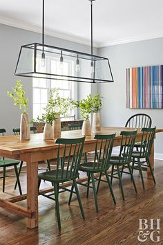 We Love This Home's Colorful Twist on Modern Farmhouse Style is part of Farmhouse chairs - This Upstate New York house got a fullfledged interior renovation See how the homeowners updated it with bold accent colors for a modern twist Modern Farmhouse Table, Farmhouse Chairs, Farmhouse Style Kitchen, Modern Farmhouse Kitchens, Farmhouse Decor, Farmhouse Renovation, Farmhouse Homes, Dining Room Design, Dining Room Table