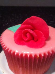 Poured fondant with a rose!
