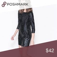 "ZARA TRAFALUC BLACK SEQUIN DRESS Never worn. Fully lined. Length is 34"". Bust lying flat is 20.5"" waist lying flat is 20.5"". zara  Dresses Midi"