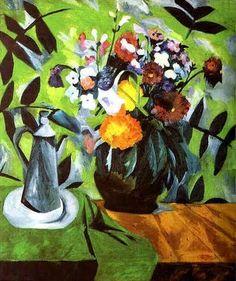 1909 Natalia Goncharova (Russian artist, 1881-1962) Flowers and Coffee Po