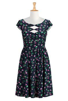 Floral Print Crepe Dresses, Bow Tie Dresses Shop women's designer fashion - A-line dress - Shop for A-line dresses | eShakti.com