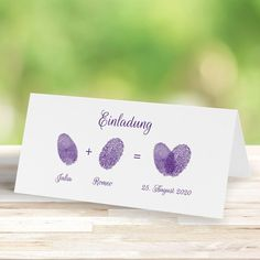 Wedding invitation Lovely fingerprints in purple! www. Mountain Wedding Invitations, Wood Invitation, Relationship Gifts, Paper Flowers Diy, Photo Poses, Birthday Invitations, Wedding Gifts, Bridal Shower, Place Card Holders