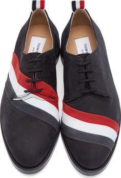 Thom Browne: Black Nubuck Tricolore Derby Shoes | SSENSE