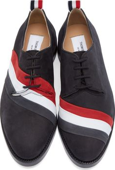 Thom Browne: Black Nubuck Tricolore Derby Shoes | SSENSE