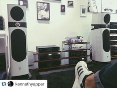 #proudofmysound Beautiful black & white #focal and @naimaudio installation by @kennethyapper !  #thespiritofsound #proudofmysound #Sopra by focalofficial