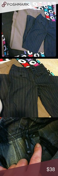Three pairs size 4 pants Three size 4 pants, in order of photos;   1. dark Navy blue pin striped button dress pants by new directions, four pockets and six buttons all original buttons attached.   2. Tan khakis by Editor, three buttons, two clasps buttons, one zipper, and four pockets, like new good condition, size 4L 3. Faded Glory black stretch boot cut classic jeans, five  pockets, one button, and one zipper. Great condition, size p 4. New Directions Pants