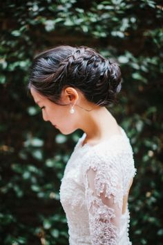 Braided updo: http://www.stylemepretty.com/california-weddings/2015/02/16/elegant-la-winter-wedding/ | Photography: Steve Steinhardt - http://stevesteinhardt.com/