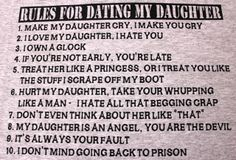 Rules For Dating My Teenage Daughter T Shirt