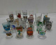 Lot Of 22 Assorted Shot Glasses Collection, Souvenir Travel Shot Glasses New Party Drinks Alcohol, Crystal Glassware, Vintage Italy, Wood Display, Travel Souvenirs, Drinking Games, Shot Glasses, Glass Collection, Slovenia
