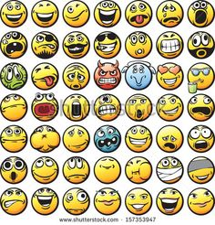 Vector collection of happy faces in various facial expressions. Easy-edit layered vector EPS10 file scalable to any size without quality loss. High resolution raster JPG file is included.  - stock vector