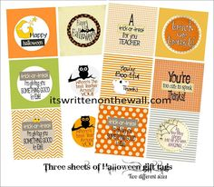 (Freebie) Halloween Teacher Appreciation Gift Tags--Are you giving a gift to teacher for Halloween? Here are the perfect tags to go along with that gift.