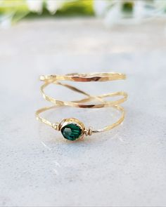 Dainty Gold Filled 14k Ring, Emerald Ring, May Birthstone Ring, Gold Filled or Sterling Silver Ring, May Birthstone Jewelry, Green Ring