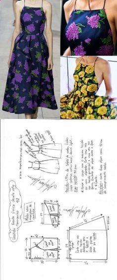 Vestido midi frente �nica decote reto – DIY – molde, corte e costura – Marlene Mukai