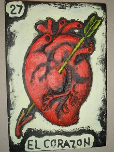 Mexican Loteria, Carved and Painted Wooden Wall Art, El Corazon ( Handmade Wall Relief Sculpture, measure: approx. 8 X Made to Order (Allow weeks for production & delivery) Wooden Wall Art, Wooden Walls, Anatomical Heart, Human Heart, Anatomy Art, Mexican Folk Art, Heart Art, Sacred Heart, Painted Signs