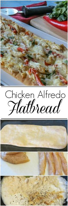 Chicken Alfredo Flatbread. Easy & Delicious ValentinasCorner.com