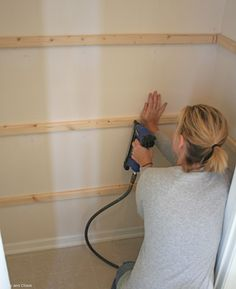 I like a girl who knows how to use air-pressured tools. DIY pantry shelves