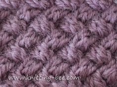 Small diagonal cable basketweave knitting stitch patttern. This stitch creates a very tight and dense fabric. Cast on mulitples of 4 Row 1: k2 *slip 2 sts to cable needle at the back, k2, k2 from cable needle; rep from * to last 2 sts, k2 Row 2: purl Row 3: *slip 2 sts to…