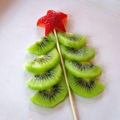 arbol de navidad de frutas, comida de navidad, comida divertida