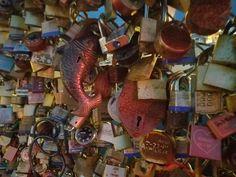 Love locks fence in Portland Maine