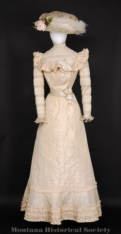 1988.117.04, wedding dress, 1901, worn by Mrs. Frank (Emma) Mares at her wedding, April 21, 1901, at Central Park in Helena. Matching hat (1988.117.05).