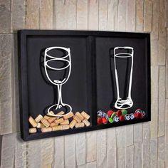 Diy Bottle, Wine Bottle Crafts, Cork Crafts, Fun Crafts, Bar Pics, Beer Decorations, Home Bar Designs, Wine Signs, Block Craft