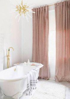 Modern Glam Bathroom with Brass Light Fixture + Clawfoot Tub + Pink Velvet Curtains photographed by Alyssa Rosenheck // Bathroom Decor, Bathroom Ideas, Interior Design Decor Inspiration, Bathroom Inspiration, Decor Ideas, Decorating Ideas, Decorating Websites, Diy Ideas, Fashion Inspiration, Interior Decorating, Bathroom Trends
