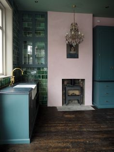 pink, green and blue with brass details - our new favourite combination