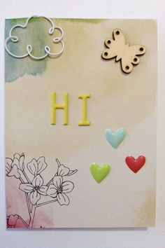 Say hello to a friend or family member with this card. Its perfect for friends and family who live far away. Its also great for penpals. The card is embellished with enamel heart shapes, a butterfly wood veneer, and a cloud paperclip.  The inside of the card is blank so you can add your own message.  This card is 4 x 5.5 inches and comes with a white envelope. Your card and envelope will come in a clear cellophane bag.