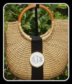 Monogram Scrimshaw Tote Basket, $140.00 (http://www.purseladytoo.com/monogram-scrimshaw-tote-basket/)