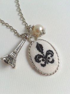Fleur de Lis hand embroidered pendant necklace. $23.00, via Etsy.