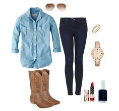 Chilly night country concert attire - red lipstick, boots, chambray & dark denim.