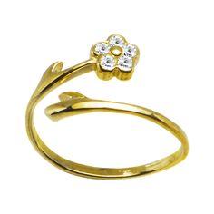 10k Yellow Gold Gem Flower Cubic Zirconia Toe Ring