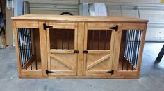 I have pinned a similar piece of furniture and my husband created this for me or for the pups, in order to eliminate those generic wire dog cages from the living room space. I love the door design as it is similar to Diy Dog Kennel, Diy Dog Bed, Dog Kennels, Kennel Ideas, Pallet Barn, Dog Crate Furniture, Furniture Design, Diy Dog Crate, Dog Pen
