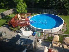 Landscape around above ground pool | Abg pool landscaping pictures- Wanted • Above Ground Pools ...