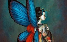 """""""Benjamin Lacombe is a French author and illustrator born in Paris on July He is one of the head representatives of the new French illustration. Madame Butterfly, Butterfly Art, Butterflies, Butterfly Painting, French Illustration, Art Papillon, Illustrator, Beautiful Fairies, The Crow"""