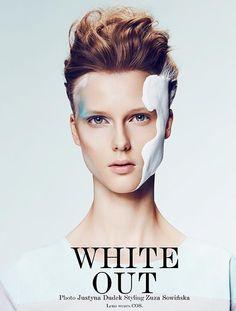 WHITE OUT ..♥ Photos: Justyna Dudek  Stylist: Zuza Sowinska ..♥ - Makeup: Slawek Oszajca  - .Hair: Grzegorz Smoderek ..♥ Model: Lena @ Model Plus Poland ( Vestal magazine beauty )