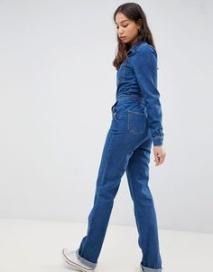 Shop the latest ASOS DESIGN Tall boilersuit in midwash with flare leg trends with ASOS! Denim Jumpsuit, Overalls, Shorts, Boiler Suit, Playsuit Romper, Jumpsuits For Women, Fashion Online, Cool Style, Flare