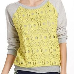 Finally a sweatshirt every bit as perky as you after your third cup of coffee. Showcase your sunny disposition with Anthropologie's Sun Medallion Pullover / Sweatshirt! In very good condition. Size S.