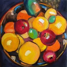 Bowl of Fruit & Studio Play Time, painting by artist Elizabeth Fraser